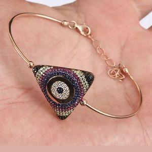 Avelon's Designs Jewelry - Triangle evil eye multi gemstone & gold bracelet